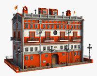 fantasy building orange model