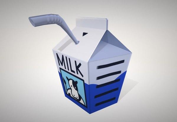 small milk carton 3D model