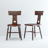 SET OF 6 BRUTALIST PIERRE CHAPO STYLE CHAIRS