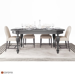 3D table dining set model