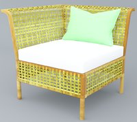 3D rattan chair outdoor low-poly