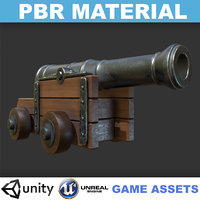 3D model realistic cannon - pbr
