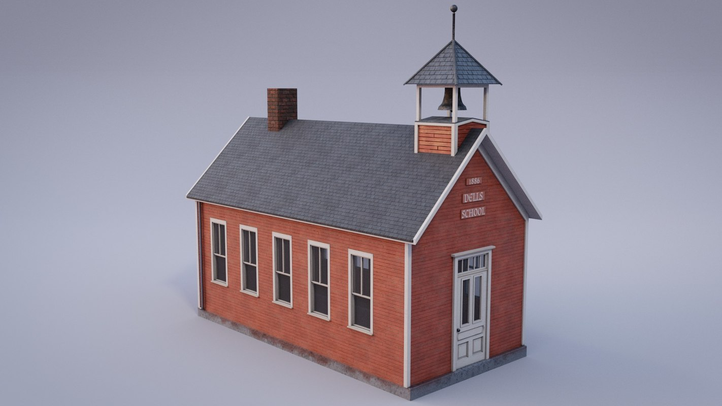 3D old one-room schoolhouse asset model