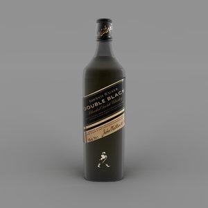 3D model double black bottle label
