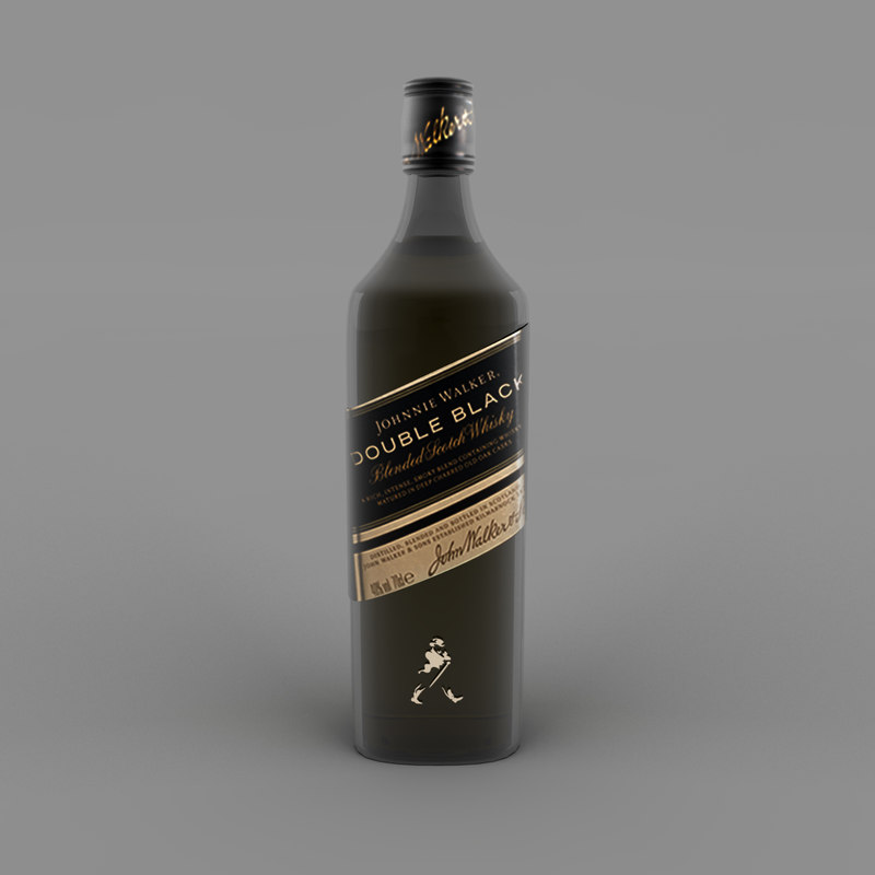 3D model double black bottle label