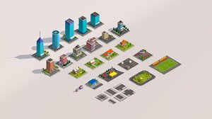 3D cartoon buildings pack