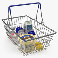 3D metal shopping basket filled model