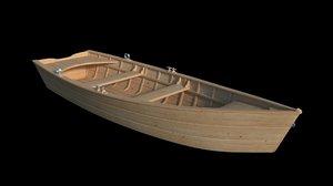 3D model flat wooden row boat