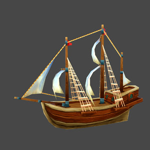 3D cartoon pirate ship low-poly model
