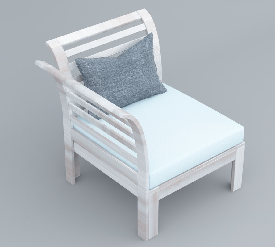 white wooden chair outdoor 3D