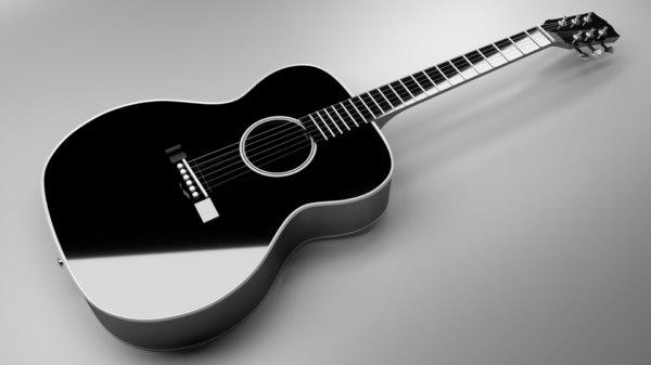 3D black acoustic guitar