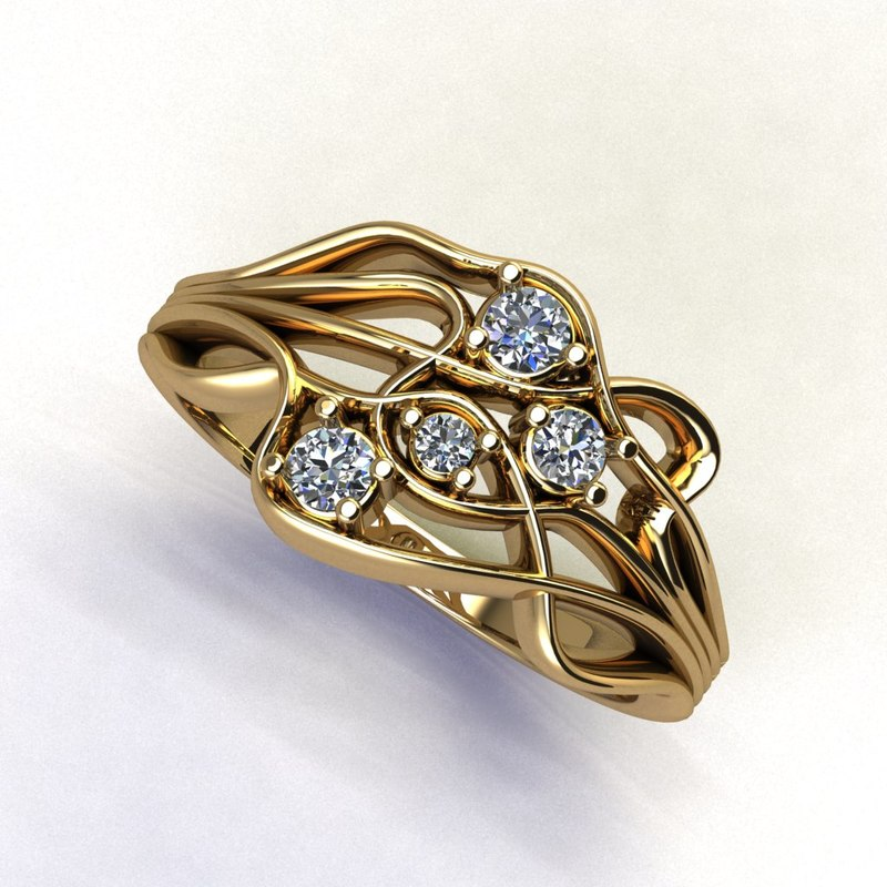 ondulated gold ring 3D model