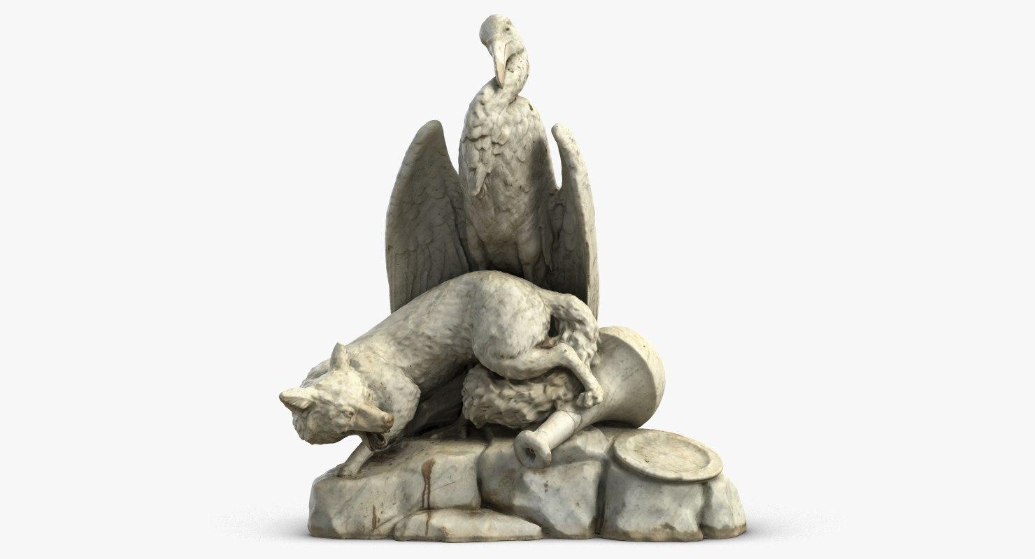 sculpture fox stork 3D model