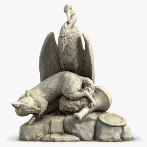 sculpture fox stork 3D model