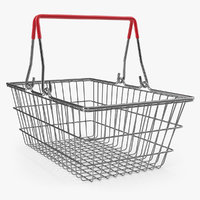 3D metal shopping basket model