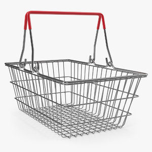3D metal shopping basket model