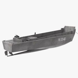 higgins boat rusty rigged 3D model