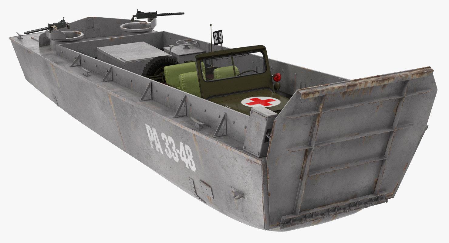 3D higgins boat ambulance jeep model