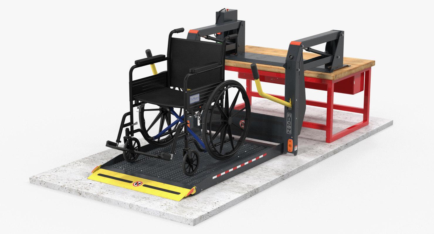 3D hydraulic lift wheelchair