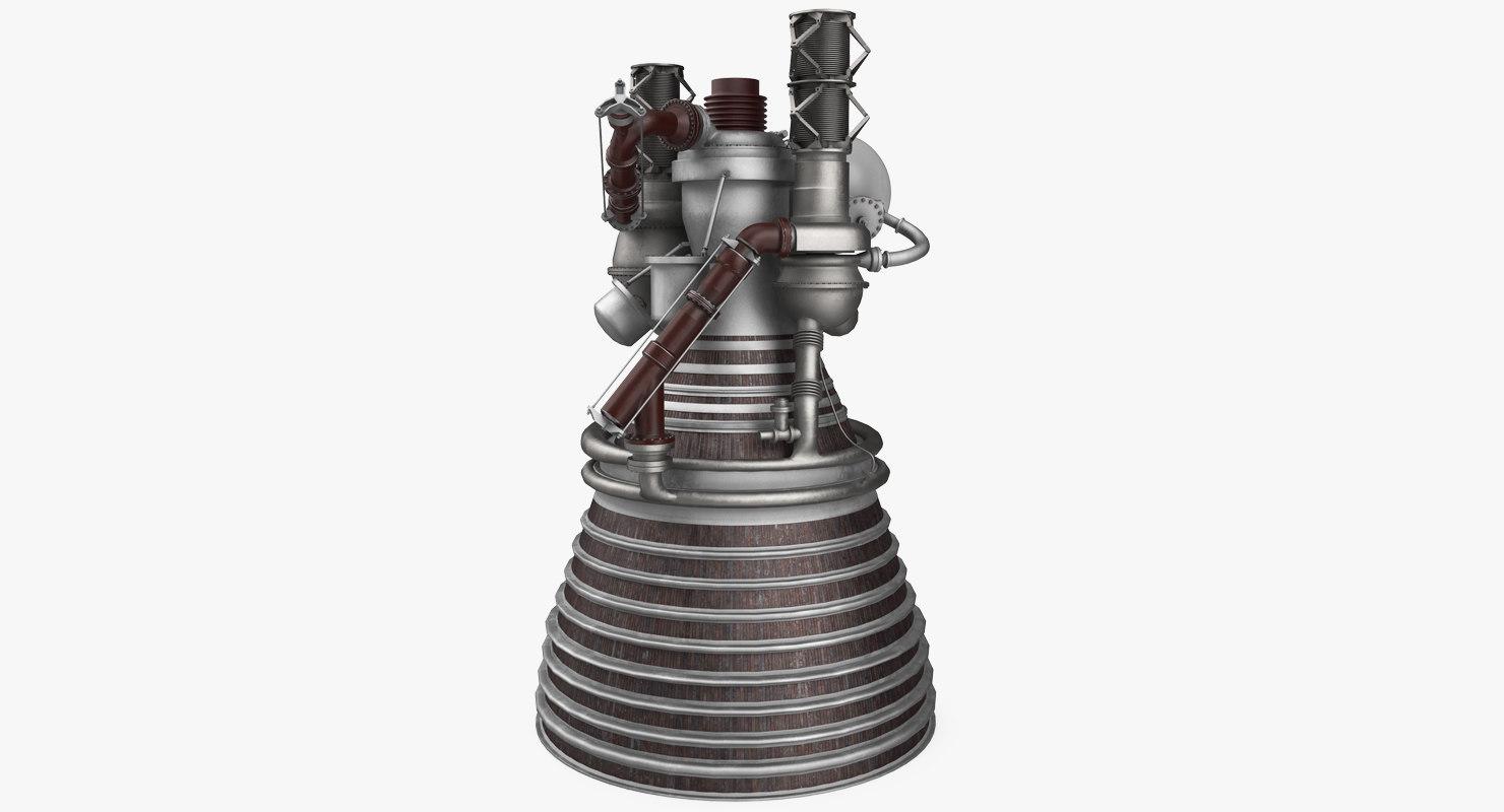 3D model j2 rocket engine
