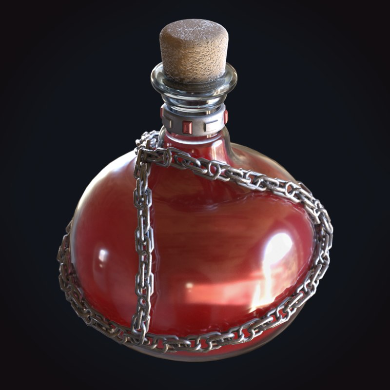 red potion chain health 3D model