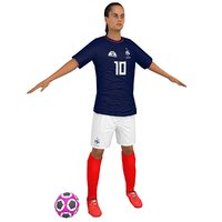3D model female soccer player