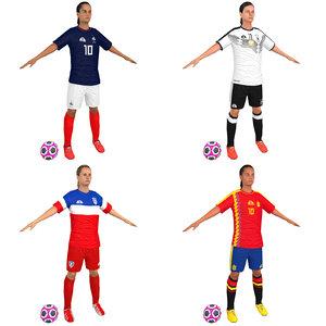 3D pack female soccer player model