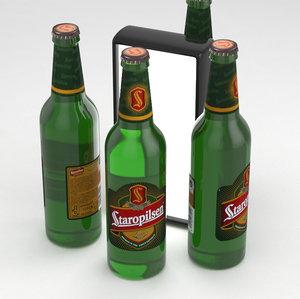 beer bottle lager 3D model