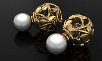 earring silver gold 3D model