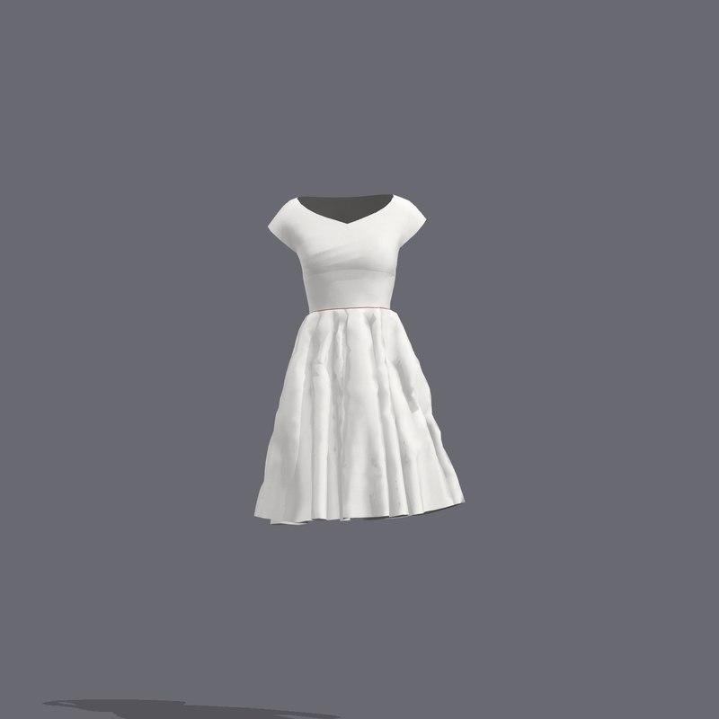 vintage midriff dress 3D model
