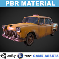 Low poly PBR Realistic Yellow Taxi