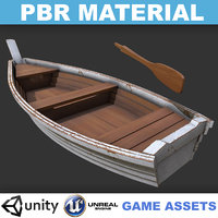 Low poly Realistic Wooden Boat