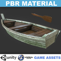 Low poly Realistic Old Mossy Wooden Boat