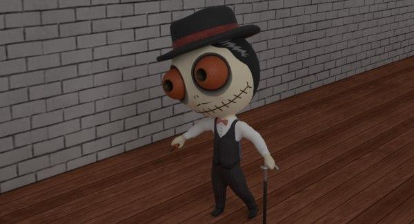 3D cute zombie wooden doll model