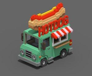 3D voxel hotdog van