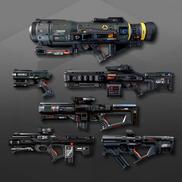 6 sf weapons pack 3D model