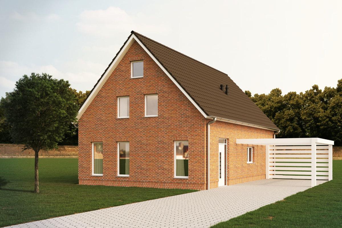 3D family house bricks model