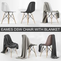 Vitra Eames Plastic Side Chair DSW of Charles & Ray Eames from 1950 with blanket cloth