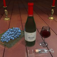 wine table setting 3D