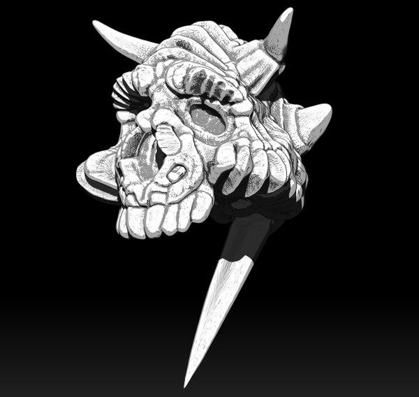 3D skull pin
