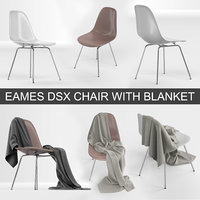 Vitra Eames Plastic DSX chair from Charles & Ray Eames with blanket cloth