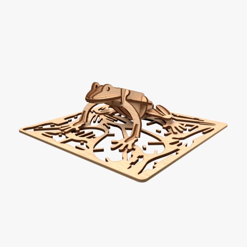 frog laser cut animation 3D model