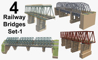 3D model bridge rail railway