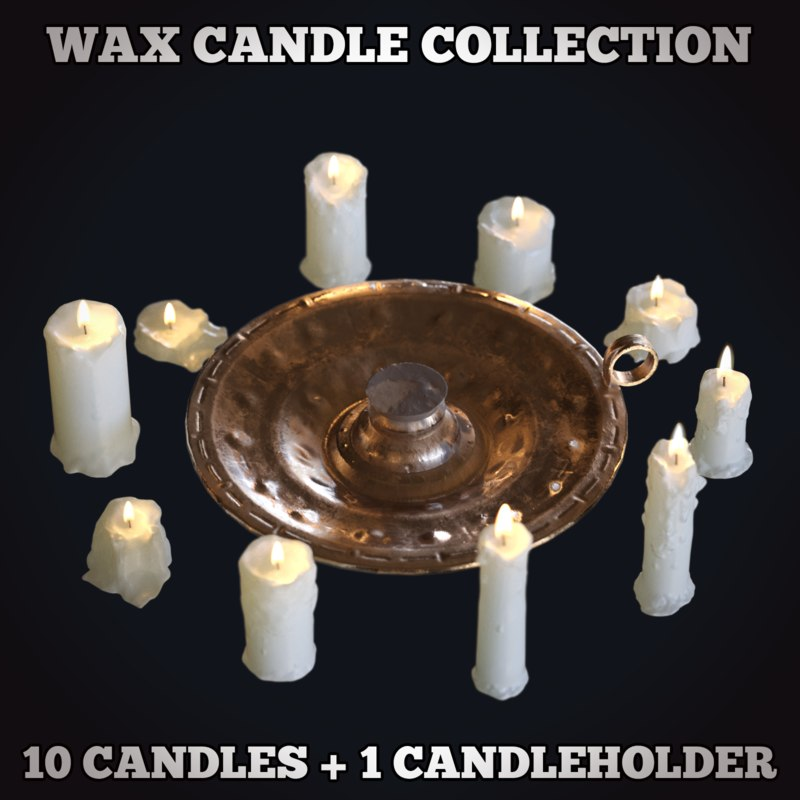3D wax candle medieval candlestick model