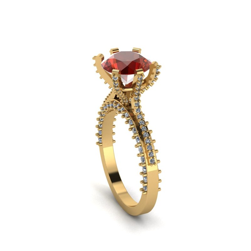 3D 2 solitaire ring cts model