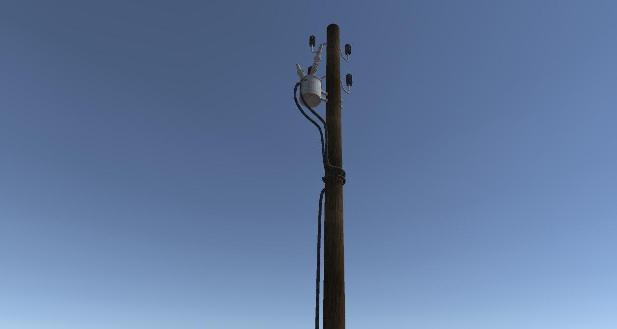 3D model pole wooden electric