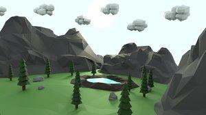 3D scene mountain crater model
