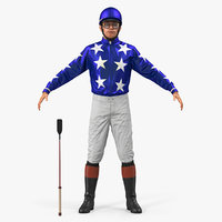 Horse Jockey Rigged for Cinema 4D 3D Model