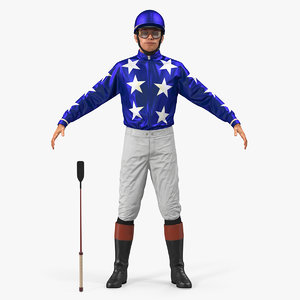 3D model horse jockey rigged