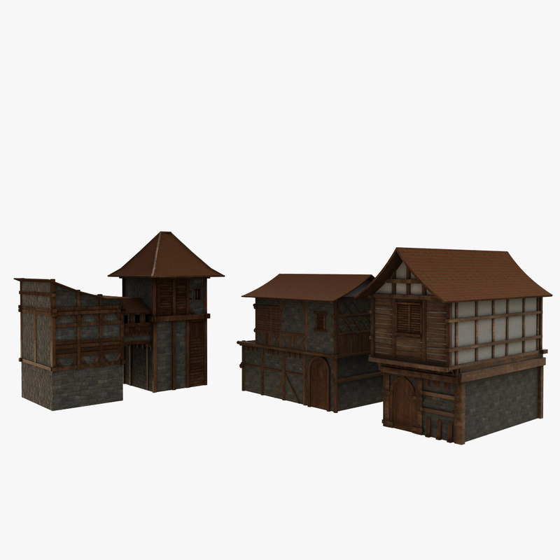 3D medieval house pack model
